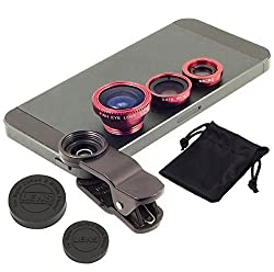 Universal Clip-On 3 in 1 Mobile Cell Phone Camera Lens Kit, 180 Degree Fisheye Lens + 0.67X Wide Angle + 10X Macro Lens, With 2 Lens Clip Holders