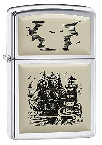 Zippo Scrimshaw Emblem Pocket Lighter, High Polish Chrome