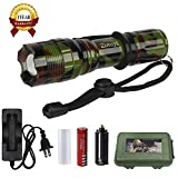 Led Flashlight Mini CREE Tactical Torch with Water /Weather Resistant Rechargeable Battery included Universal Camo