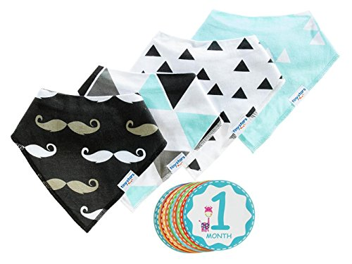 Baby Bandana Drool Bib Kit by Tiny Stars - 4 Pack of Boy Absorbent Cotton/Fleece Snap-On Bibs with 12 Baby Monthly Stickers. Great for Infant Boys and Girls - Great Baby Gift! (Old Navy Rock Star compare prices)