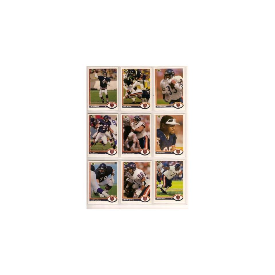 Chicago Bears 1991 Upper Deck Football Team Set (Jim Harbaugh) (Neal Anderson) (Brad Muster) (Richard Dent) (Mike Singletary) (Steve McMichael) (Keith Van Horne) (Darren Lewis Rookie) (Stan Thomas Rookie) (Chris Zorich Rookie) (Mark Carrier) (William Perry