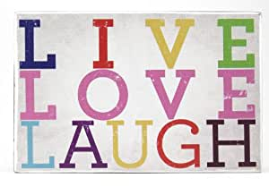 About Face Designs Wooden Wall Décor Plaque, 3.75 by 5.75-Inch, Live, Laugh, Love