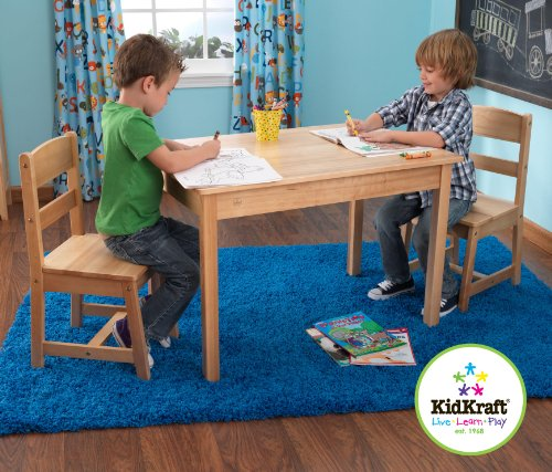 KidKraft Home Indoor Kids Room Decorative Space Saver Rectangle Table And 2 Chair Wooden Furniture Set Natural
