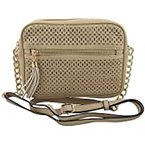Melie Bianco Lucia Lace Cut Clutch with Chain / Cross Body