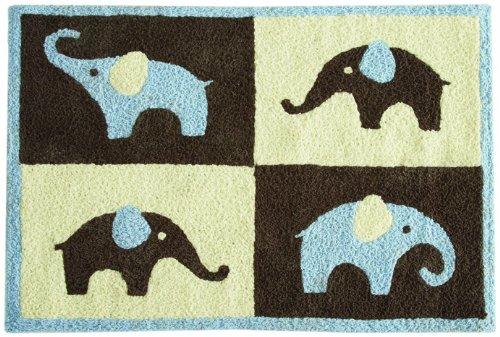 "Carter'S Blue Elephant Rug, Blue/Choc, 30 X 40"" front-17389"