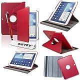 """SAVFY® 3en1 360°Housse Rotatif en cuir pour Samsung Galaxy Tab 3 10.1"""" P5200/P5210 + FILM D'ECRAN + STYLET OFFERTS! - Housse de Protection Etui Smart Cover Case avec rabat/stand de positionnement support et la Fonction Sommeil/Réveil Automatique Pour Tablette Samsung Galaxy TAB 3 10.1 10"""" P5200 / P5210 / P5220 / GT-P5210ZWAXEF Tablet - Rouge"""