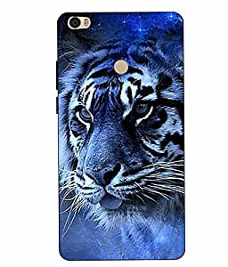 Snazzy Tiger Printed Blue Hard Back Cover For Xiaomi Redmi MI MAX