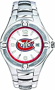Timex Men's 7B708 Montreal Canadians Officially Licensed NHL Watch Stainless Steel White Dial Watch