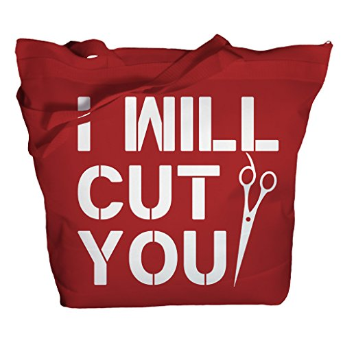 Shirts By Sarah Tote Bag Funny Hairdresser I Will Cut You Zippered Totes (Red/White One Size)
