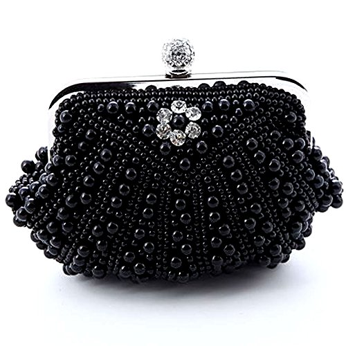 MZZ BEA147 Timless Fully Pearl Beads Inlaid Evening Party Purse Bridal Bag Wedding Prom Clutch Gift