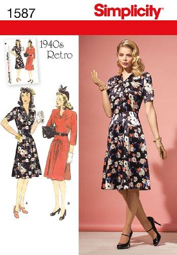 SIMPLICITY 1587 Misses' & Miss Petite 1940's Vintage / RETRO Dress (14-22) SEWING PATTERN