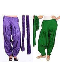 Rama Cotton Combo Of 2 Ethnic Full Patiala Salwar With Dupatta (Green, Purple_Free Size)