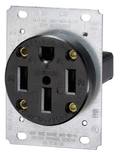 Leviton 279 50 Amp, 125/250 Volt, NEMA 14-50R, 3P, 4W, Flush Mounting Receptacle, Straight Blade, Industrial Grade, Grounding, Side Wired, Steel Strap, Black photo