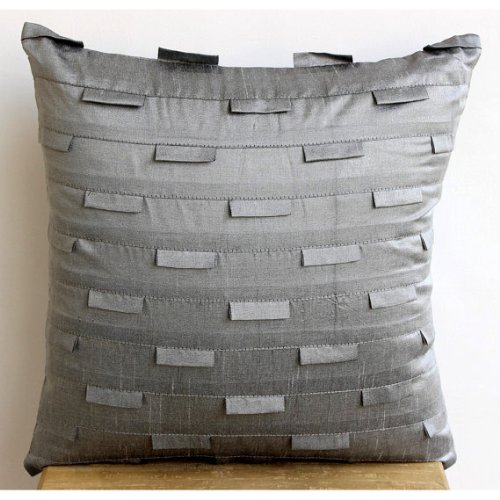 Silver Ocean - 26X26 Inches Square Decorative Throw Silver Grey Silk Euro Sham Covers With Pintucks front-342920
