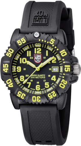 Luminox Women's EVO Navy Seal 7055 Black Rubber Swiss Quartz Watch with Black Dial