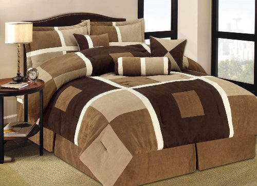 7 Pieces Brown & Beige Geometric Pattern Suede Patchwork Comforter Bed-In-A-Bag Set front-1035683