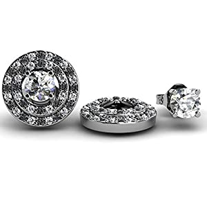 0.40 Carat (ctw) 14K White Gold Black & White Diamond Round Double Row Removable Jackets Stud Earrings