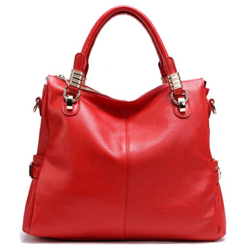 JiYe Womens 2P0951 1st Genuine Leather Leisure Shoulder Bag Red
