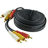 Triple 3 RCA Male to Male Audio Video DVD TV AV Cable 4.6M Long Black