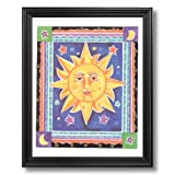 Celestial Sun Galaxy Kids Room Wall Picture Black Framed Art Print