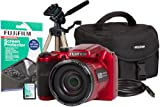 Fuji FinePix S4800 Camera Kit with Case, 4GB Memory Card, HDMI, Screen Protector and Desktop Tripod - Red