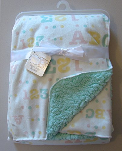 "Snugly Baby Unisex Sherpa Baby Blanket ABC 123 Yellow & Green On White 30""x40"" - 1"