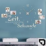 DESIGNSCAPE-Wandtattoo-Uhr-Familienzeit-mit-Fotorahmen-Zeit-die-man-mit-der-Familie-verbringt-ist-jede-Sekunde-wert-188-x-113-cm-BxH-schwarz-inkl-Uhrwerk-silber-Umlauf-90cm-DW813031-L-F4-SI