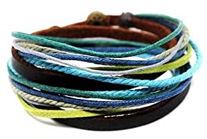 Jirong Adjustable Bracelet Cuff Made of Brown Leather Multicolour Ropes and Metal Woven Snapper Mens Bracelet Unisex Bracelet 78s