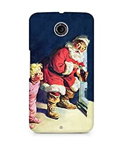 Amez designer printed 3d premium high quality back case cover for Motorola Nexus 6 (Santa Claus cool drink Fridge)