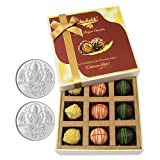 Chocholik Belgium Chocolates - 9pc Scrumptious White Collection Of Chocolates With 5gm X 2 Pure Silver Coins -...
