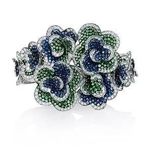 Diamond, Sapphire and Tsavorite 18k White Gold Bangle Bracelet