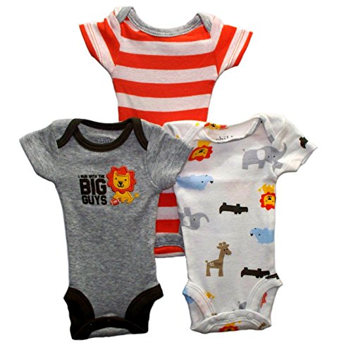 Lion 3 Pack Newborn Baby Boys Bodysuits Dress Up Outfit (Preemie)