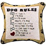 Manual Dog Rules Pillow, 12-1/2-Inch Square