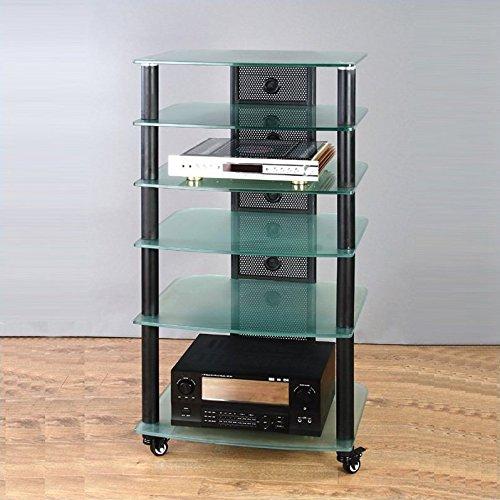 NGR Series Black Framed Audio Video Rack w Frosted Glass Shelves