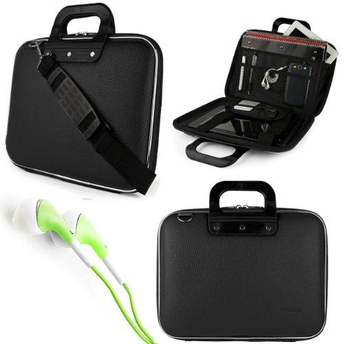 """Black Sumaclife Cady Bag Case W/ Shoulder Strap For Dell Venue 11 Pro 10.8"""" Tablet + Green Vangoddy Headphones"""