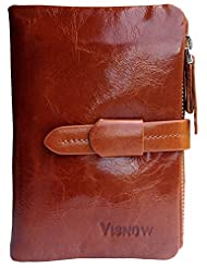 Visnow(TM) Elegant Women's Genuine Soft Cow Leather Natural Leather Purse Wallet Card Bag Business Coffee Carry...