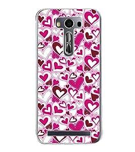 Pink Hearts Pattern 2D Hard Polycarbonate Designer Back Case Cover for Asus Zenfone 2 Laser ZE550KL (5.5 INCHES)