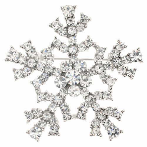 Chrome Christmas Snowflake Brooch