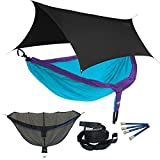 ENO DoubleNest OneLink Sleep System - Purple/Teal Hammock With Black Profly