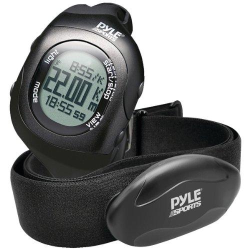 Pyle PSBTHR70BK Bluetooth Fitness Heart Rate Monitoring Watch with Wireless Data Transmission & Sensor (Black)