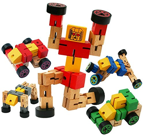 Kids Toy, EpochAir Cool Wooden Transformer Toy Changing to Many Type of Shapes, Creative Educational Children Toys for New Version Design -2 Pieces (Random Colors)