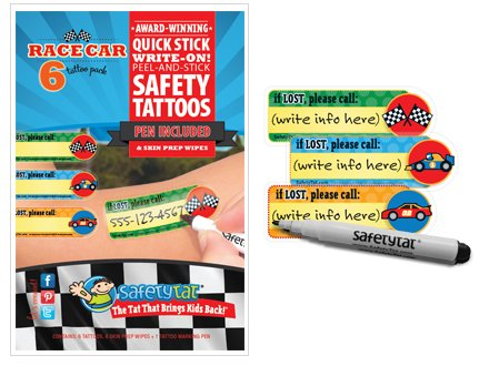 Quick Stick Write-on! Child ID Tattoos (Race Car)