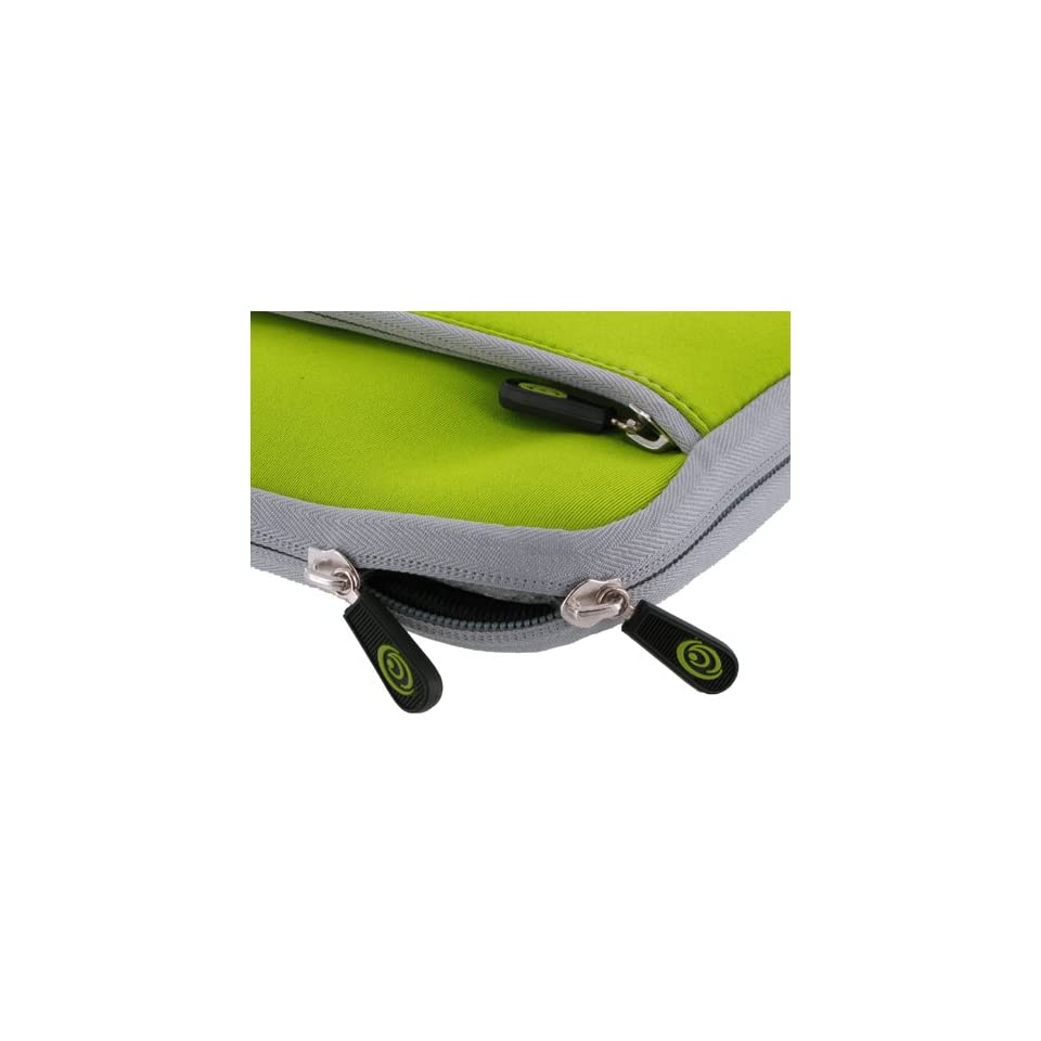 Acer AOD250 1070 10.1 Inch Netbook Neoprene Sleeve Slip Case (Invisible Zipper Dual Pocket   Neon Green)
