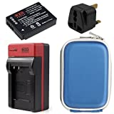 EZOPower BCG10E Battery + Home Charger with EU/Car Adapter + UK Plug + Blue Eva Case for Panasonic Lumix DMC-TZ35, DMC-TZ27, DMC-TZ30, DMC-ZR1, DMC-ZR1K, DMC-ZR1S Digital Camera