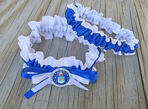 Air Force Military Bridal Satin Wedding Garter White & Royal Blue Keepsake Or Garter SET