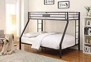 ACME Furniture 38000 2 Cartons Limbra Bunk Bed (Set of 1), Twin X-Large/Queen, Black Sand