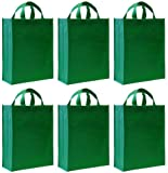Reusable Gift Bags, Large Tall, Green 6 Pack
