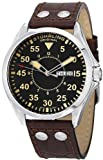 Stuhrling Original Mens 479.3315K1 Classic Traveler Trackmaster II Swiss Quartz Day and Date Brown Leather Strap Watch