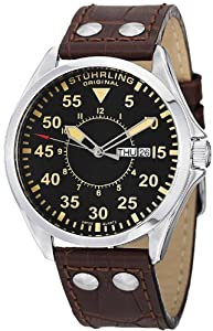 Stuhrling Original Men's 479.3315K1 Classic Traveler Trackmaster II Swiss Quartz Day and Date Brown Leather Strap Watch