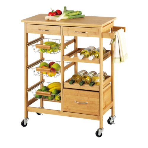 Zeller 13775 Kitchen Trolley with Bamboo Top 66 x 38 x 84 Bamboo